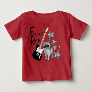 """Red tee-shirt baby """"Forever rock'n'roll"""", cat, Baby T-Shirt"""