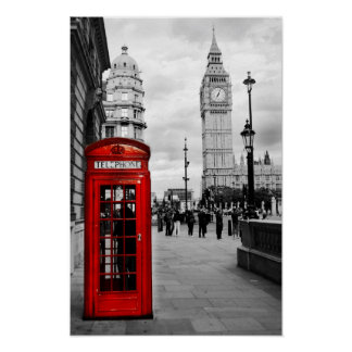Red Telephone Big Ben London Landscape Poster