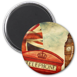 Red telephone booth and Big Ben in London, England 6 Cm Round Magnet