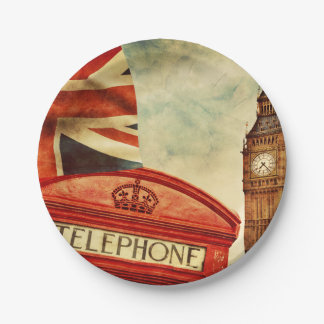 Red telephone booth and Big Ben in London, England 7 Inch Paper Plate