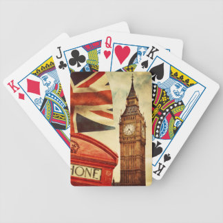 Red telephone booth and Big Ben in London, England Bicycle Playing Cards
