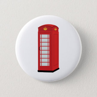 Red Telephone Box 6 Cm Round Badge