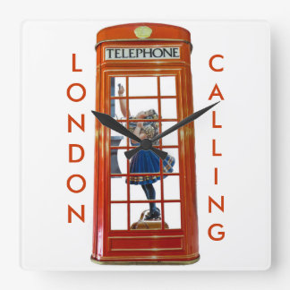 Red Telephone Box for Square Wall Clock