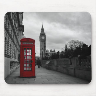 Red telephone box in London mousepad