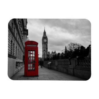 Red telephone box in London rectangular magnet