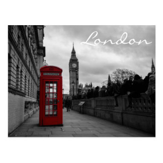 Red telephone box in London text postcard
