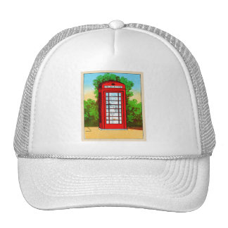 Red Telephone Box UK Vintage Kitsch Cap