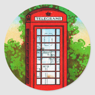 Red Telephone Box UK Vintage Kitsch Stickers