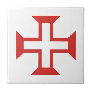 Red Templar Cross Ceramic Tile