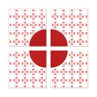 Red Templar Cross pattern Canvas Prints