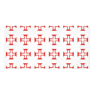 Red Templar Cross pattern Photo Card Template