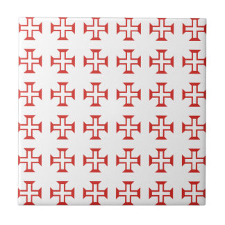 Red Templar Cross pattern Small Square Tile