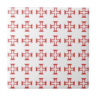 Red Templar Cross pattern Tile