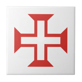 Red Templar Cross Small Square Tile