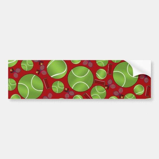 Red tennis balls rackets and nets bumper sticker