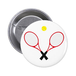 Red Tennis Racket Close Up Button Badge