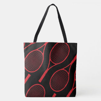 red tennis racquets on black tote bag