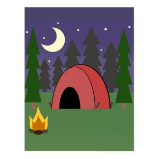 Red Tent Camping Birthday Party Postcard Invite