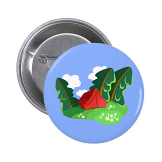 """Red tent in summer forest"" button"
