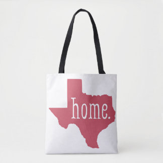 Red Texas State Home Tote Bag