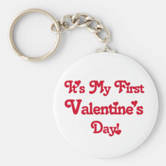 Red Text First Valentine's Day tshirts and Gifts Basic Round Button Key Ring