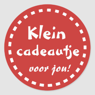 Red text gift sticker small Cadeautje for you