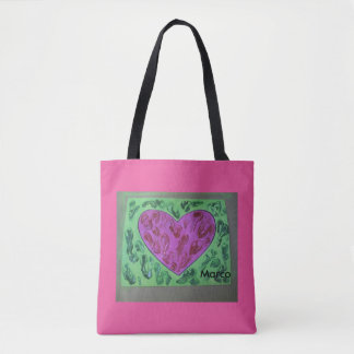 Red texture heart on green texture pink bag