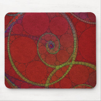 Red Textured Circle Pattern Mouse Pad