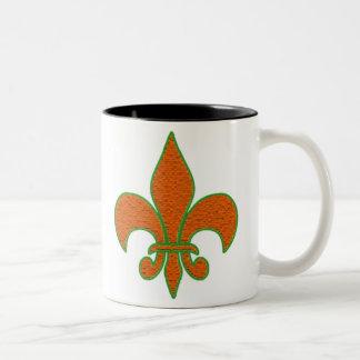 Red Textured Fleur de Lis Two-Tone Coffee Mug