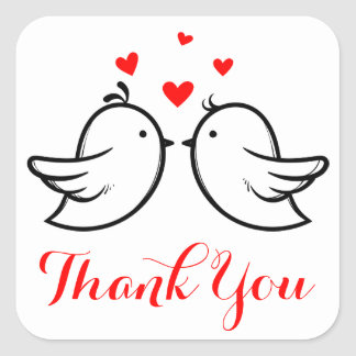 Red Thank You Black Lovebirds Wedding Party Square Sticker