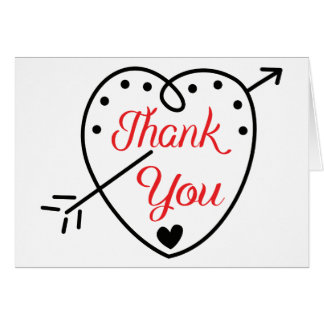 Red Thank You Black & White Heart & Dots Note Card