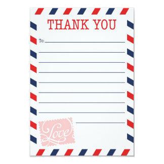 """Red Thank You Card Postal Service Collection 3.5"""" X 5"""" Invitation Card"""
