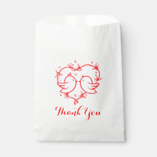 Red Thank You  Lovebirds Heart Wedding Bridal Favour Bag