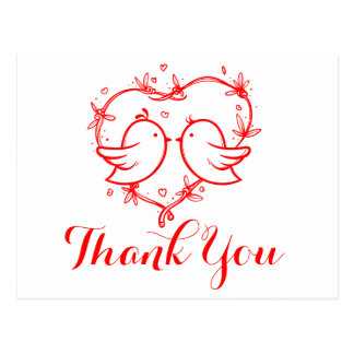 Red Thank You Lovebirds Hearts Wedding Love Postcard