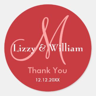 Red Thank You Wedding Monogram Sticker