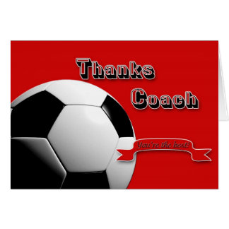 Red Thanks Soccer Coach Greeting Card