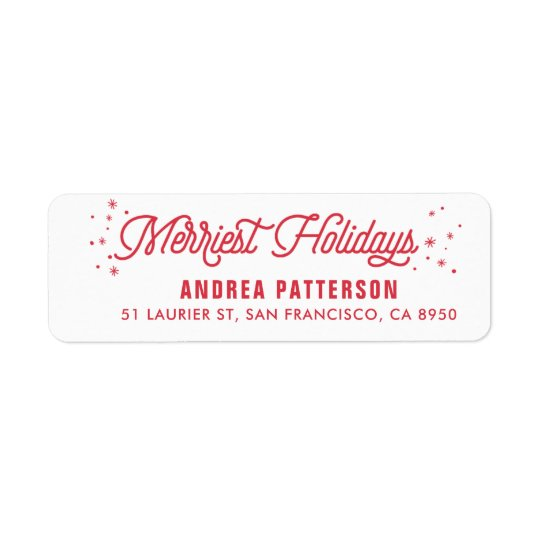 Red The Merriest Holidays Typography Christmas Return Address Label