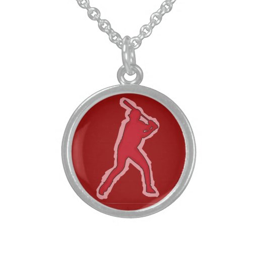 Red theme simple baseball player necklace