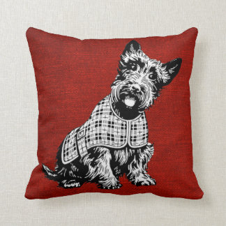 Red Throw Pillow With Scottish Terrier Dog