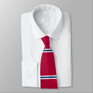 Red Tie with Blue and White Horizontal Stripes