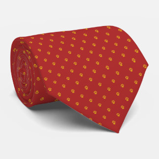 Red Tie with Gold Paw Prints