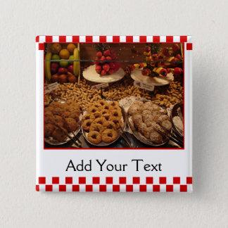 Red Tile Desserts 15 Cm Square Badge