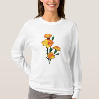 Red-Tipped Yellow Carnations Ladies T-Shirt
