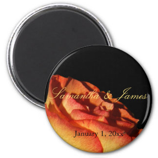 Red Tipped Yellow Rose on Black Personal Wedding Magnet