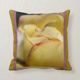 Red Tipped Yellow Rose Pillow by bubbleblue Throw Cushion