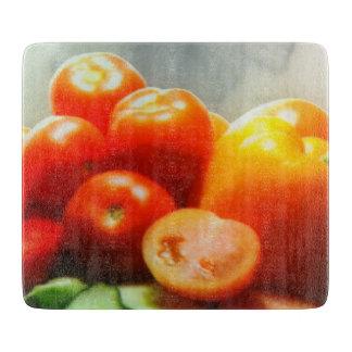 "Red Tomato Decorative Glass Chopping Board 6"" x 7 Cutting Board"
