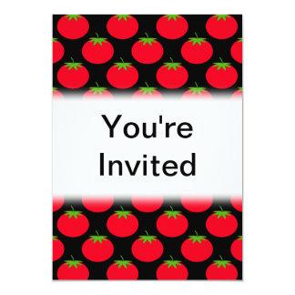 Red Tomato Pattern. 13 Cm X 18 Cm Invitation Card