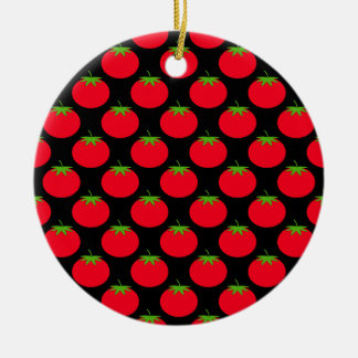Red Tomato Pattern. Round Ceramic Decoration