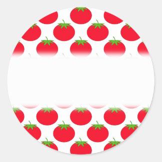Red Tomato Pattern. Round Sticker