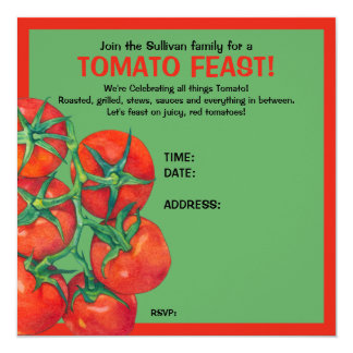 Red Tomatoes green Feast Invitation Card